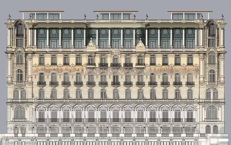 H tel hermitage perrot richard architectes for Architecte monaco